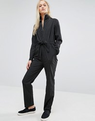 Neon Rose High Neck Jumpsuit In Subtle Pinstripe Black