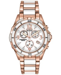 Citizen Women's Chronograph Eco Drive Diamond Accent White Ceramic And Rose Gold Tone Stainless Steel Bracelet Watch 40Mm Fb1233 51A