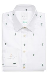 Paul Smith Men's London Extra Trim Fit Embroidered Cactus Dress Shirt