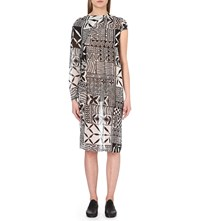 Junya Watanabe Tribal Print Georgette Dress White Black