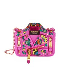 Moschino Embroidered Leather Jacket Shoulder Bag Female Fuchsia