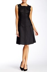 Anne Klein Jacquard Seamed Fit And Flare Dress Black