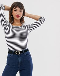 Esprit Stripe Long Sleeved Stripe Top In Navy With Bow Back