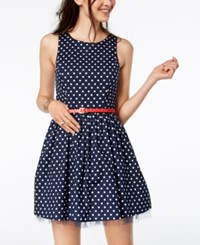 Emerald Sundae Juniors' Polka Dot Fit And Flare Dress Navy Polka Dot