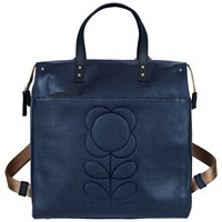 Orla Kiely Embossed Flower Leather Backpack Navy