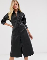 Neon Rose Midi Shirt Dress In Faux Leather Blue