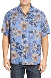 Men's Tommy Bahama 'Block Party Blossom' Island Modern Fit Floral Print Silk Camp Shirt Deep Sterling