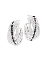 Judith Ripka Mercer Black Sapphire And Sterling Silver Crisscross Hoop Earrings