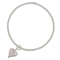 Martick Beaded Ball Bracelet With Murano Glass Heart Silver Pink