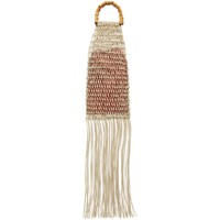 Jil Sander Beige And Red Bamboo Handle Fringe Tote