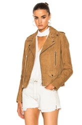 Nicholas Suede Zip Biker Jacket In Brown Neutrals Brown Neutrals
