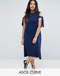 Asos Curve Midi Dress With Seam Detail Hem And Tie Sleeve Navy Blue