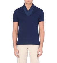 Faconnable Cotton Pique Polo Shirt Navy