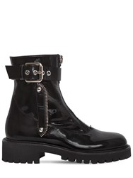 Giuseppe Zanotti 40Mm Patent Leather Ankle Boots Black Silver