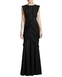 Talbot Runhof Monella Flutter Sleeve Mixed Lace Gown Black