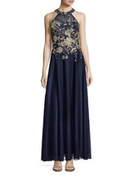 Cachet Floral Embroidered Halter Gown Navy Gold
