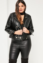 Missguided Plus Size Black Military Faux Leather Biker Jacket