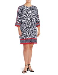Michael Michael Kors Plus Zebra Printed Three Fourth Sleeve Dress True Navy