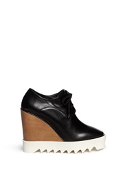Stella Mccartney Wood Wedge Faux Leather Booties Black