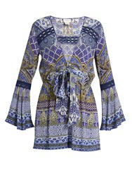 Camilla It Was All A Dream Embellished Silk Playsuit Blue Multi