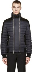 Balmain Black Leather Trimmed Down Jacket