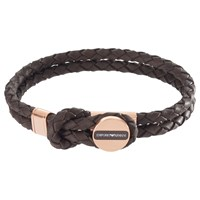 Emporio Armani Men's Braided Leather Bracelet Brown Gold