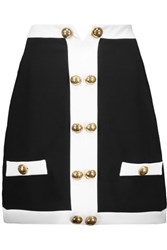 Moschino Button Embellished Crepe Mini Skirt Black