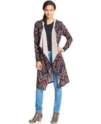 Almost Famous Juniors' Chevron Print Hooded Duster Cardigan Oatmeal Multi