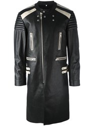 Maison Martin Margiela Colour Block Leather Coat Black