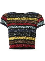 Alice Olivia Sequined Cropped T Shirt Black