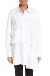Mcq By Alexander Mcqueen Women's Ruffle Tunic Shirt Optic White