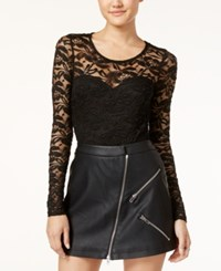 Material Girl Juniors' Illusion Lace Bodysuit Only At Macy's Black