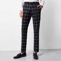 Vito River Island Mens Navy White Print Tux Trousers