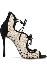 Tabitha Simmons Cali Daisy Guipure Lace And Suede Sandals Off White