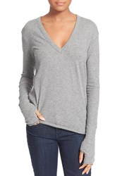 Women's Enza Costa Loose V Neck Cotton And Cashmere Tee