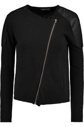 Maje Gachette Faux Leather Trimmed Knitted Cardigan Black
