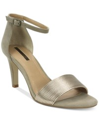 Tahari Novel Two Piece Ankle Strap Sandals Women's Shoes Taupe