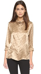 Rag And Bone Karla Silk Shirt Camel Black
