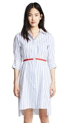 Edition10 Striped Dress With Belt Blue White