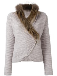 Fabiana Filippi Fox Fur Collar Jacket Nude Neutrals