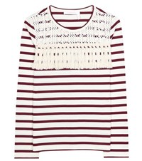 See By Chloe Striped Cotton Top Red