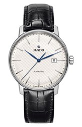 Rado Men's Coupole Classic Automatic Embossed Leather Strap Watch 41Mm Black White Silver