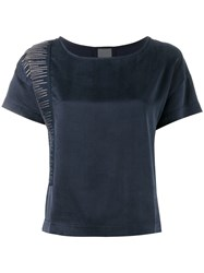 Lot 78 Lot78 Line Embroidered T Shirt Blue