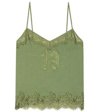 Fenty By Rihanna Lace Trimmed Cotton Camisole Green