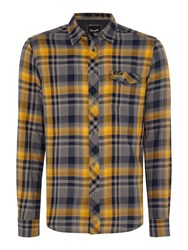 Wrangler Men's Large Check Shirt Mustard