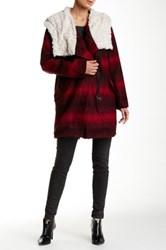 Steve Madden Faux Fur Lined Hood Plaid Coat Red