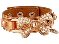 Betsey Johnson Leather Bracelets Pearl Bow Leather Cuff Rose Gold Bracelet