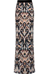 Just Cavalli Printed Crepe De Chine Maxi Skirt Black