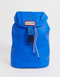 Hunter Rubberised Leather Backpack In Blue