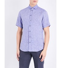 Armani Collezioni Regular Fit Linen Short Sleeved Shirt Blue